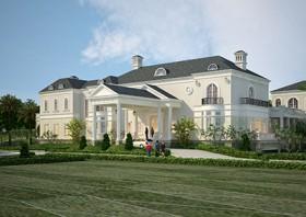 Dinh thự nghỉ dưỡng 2 tầng đẹp sang trọng theo phong cách tân cổ điển Pháp