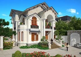 Tiêu biểu biệt thự đẹp 2 tầng phong cách Pháp